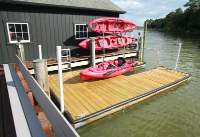 10 x 16 Slot Dock with kayak stand in water